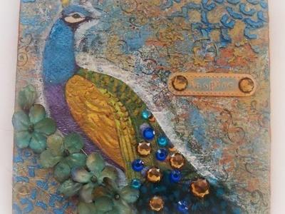 Mixed media napkin art peacock. How to make napkin collage. Napkin art