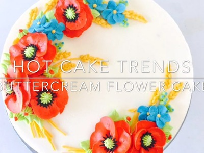 Red Poppy Buttercream flower cake - How to make by Olga Zaytseva. CAKE TRENDS 2017 #6