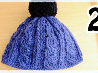 縄編み(かぎ針)帽子の編み方(2)crochet cable beanie hat tutorial