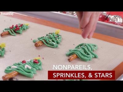 Chocolate Pretzel Christmas Tree Cupcakes