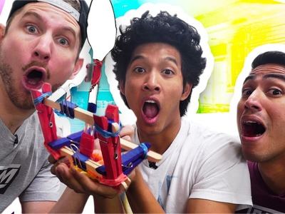 DIY CANDY CATAPULT CHALLENGE FT. TEAM EDGE!!!