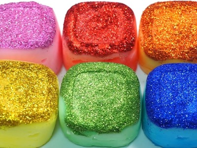 DIY How To Make Colors Cube Glitter Slime and Baby Doll Bath Time Play