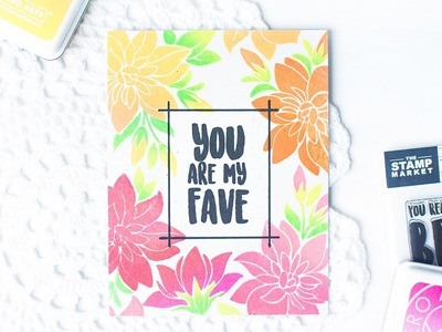 DIY One Layer Card with Floral Stamped Background in Ombre Colors