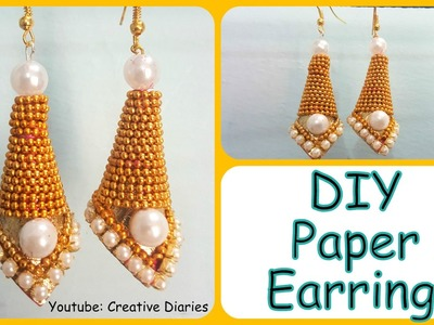 DIY Paper Earring: How to make latest designer party wear earring in easy steps I Creative Diaries