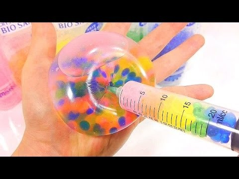 DIY Syringe Play How To Make Colors Glue Slime Bio Sand Water Balloons Learn Colors Slime Icecream