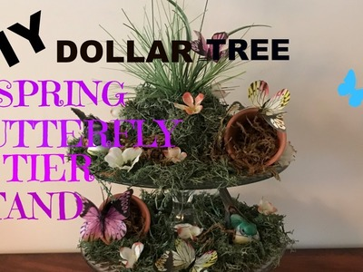 DOLLAR TREE DIY SPRING AND EASTER 2 TIER BUTTERFLY STAND-HOW TO