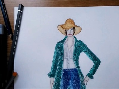 Fashion Illustration # 3 : How to color cotton & jean fabric with watercolor pencils