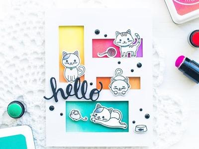 Hero Arts: DIY Cat Friendship Card using Ombré Inking & Window Die-cutting