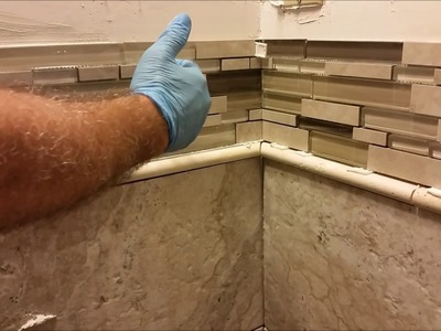 How to Install Glass Mosaic Tile in bathroom shower - Part 4  - Mosaic Installation