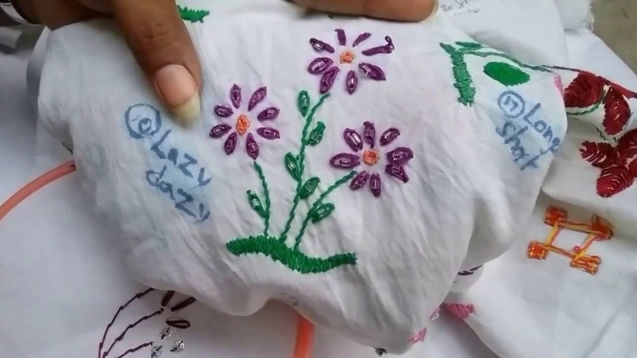 How to make designer saree with stem&lazy dazy stitches l hand embroidery for beginners l