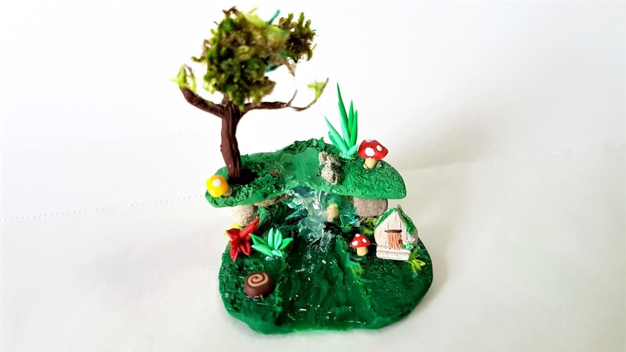 Miniature Fairy Garden in a Glass ✔ Polymer Clay Tutorial