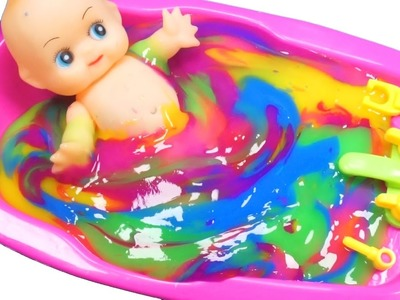 Numbers, Counting Baby Doll Colours Slime Bath Time DIY How to Make Orbeez Slime