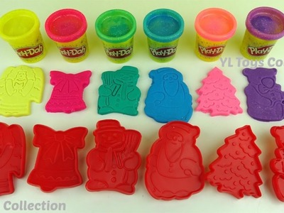 Play Doh Sparkle Christmas Cookie Cutter & Learn Colours with Slime Water Drop Surprise Toys