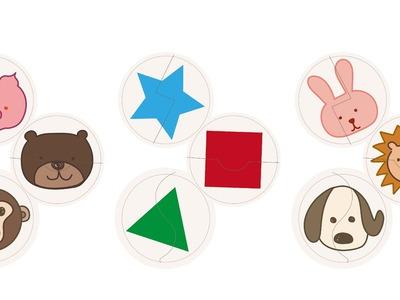 DIY自製紙箱玩具--紙箱拼圖 動物與形狀 (版型分享)  DIY Cardboard Puzzle for Kids(free patterns)