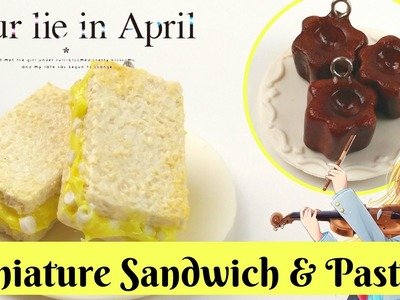 ''Your Lie in April''Miniature Egg Sandwich Polymer Clay -Dollhouse -四月は君の嘘
