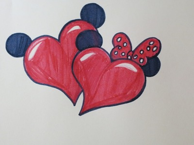 DIY Drawing Hearts with Minnie and Mickey's Ears. Cute Drawings for Valentine's