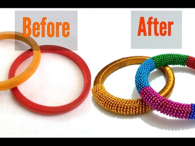 DIY | Recycle Old Wooden Bangles into Trendy Party Wear Bangles | Knotty Threadz !!
