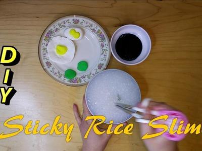 DIY STICKY RICE SLIME ONLY 4 INGREDIENTS | FOOD FUN & ASMR |