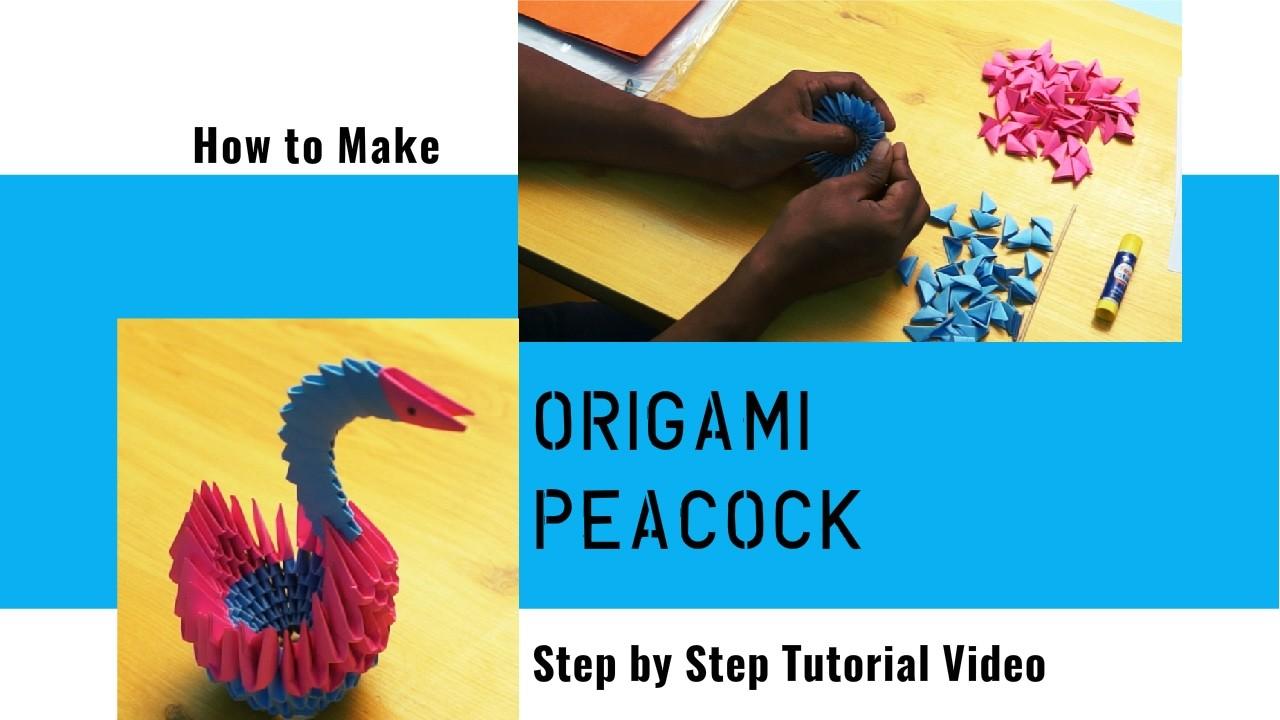 Easy Steps for Making 3D Origami Peacock  | Step by Step Tutorial Video | TrendingTv