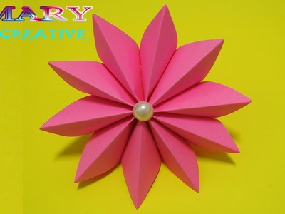 Mary Creative - Origami #17 | How to make easy ribbon flower