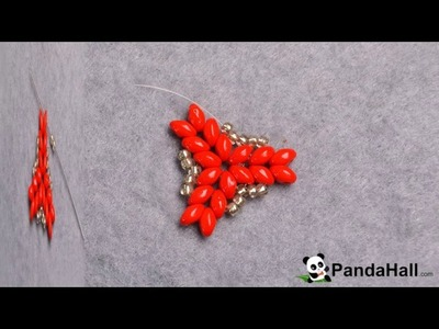 120  Pandahall Tutorial on How to DIY Red 2 Hole Seed Beads Earrings with Silver Seed Beads 1