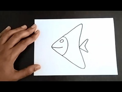 How to draw a fish : Easy and simple drawing for kids : Learn to draw a fish