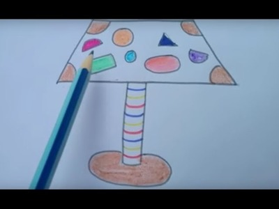 How to draw table lamp with basic shapes I easy kids drawing step by step