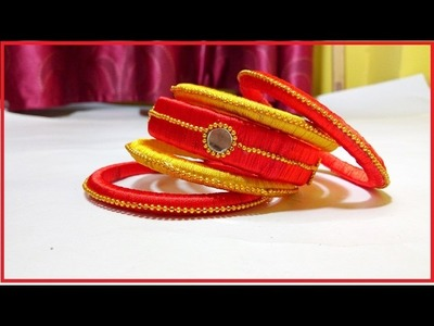 How to make yellow and orange colour silk thread bangales at home