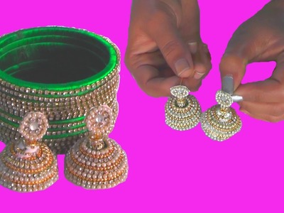 D.I.Y + Fancy Bangles Making at Home :How to Make zig zag Stone silk treads bangles making tutorials