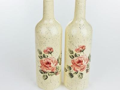 Decoupage bottles - Fast & Easy Tutorial - DIY