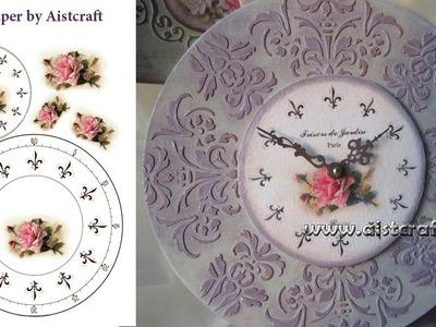 Decoupage tutorial - DIY. Handmade clock. Shabby chic.Vintage.