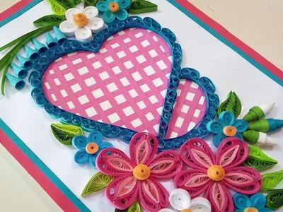 DIY Beautiful Heart Shaped Greeting Card ???? | Paper Quilling Art
