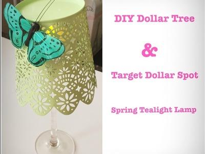 DIY Dollar Store Spring Tealight Lamp - Easy Less than $3
