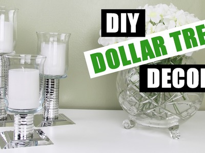 DIY DOLLAR TREE GLAM FAUX MIRROR DECOR Z Gallerie Inspired Mirror Chrome Candlesticks DIY Room Decor