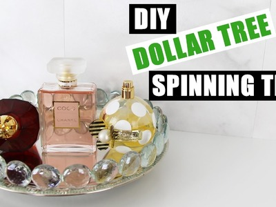 DIY DOLLAR TREE GLAM SPINNING VANITY TRAY | Z Gallerie Inspired Mirror Perfume Tray | DIY Room Decor