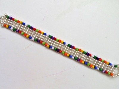 DIY Easy  Colored Bracelet. 10 minutes beading project for beginners.
