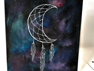 DIY Galaxy ✦ Crescent Moon Dreamcatcher Canvas Art⋆