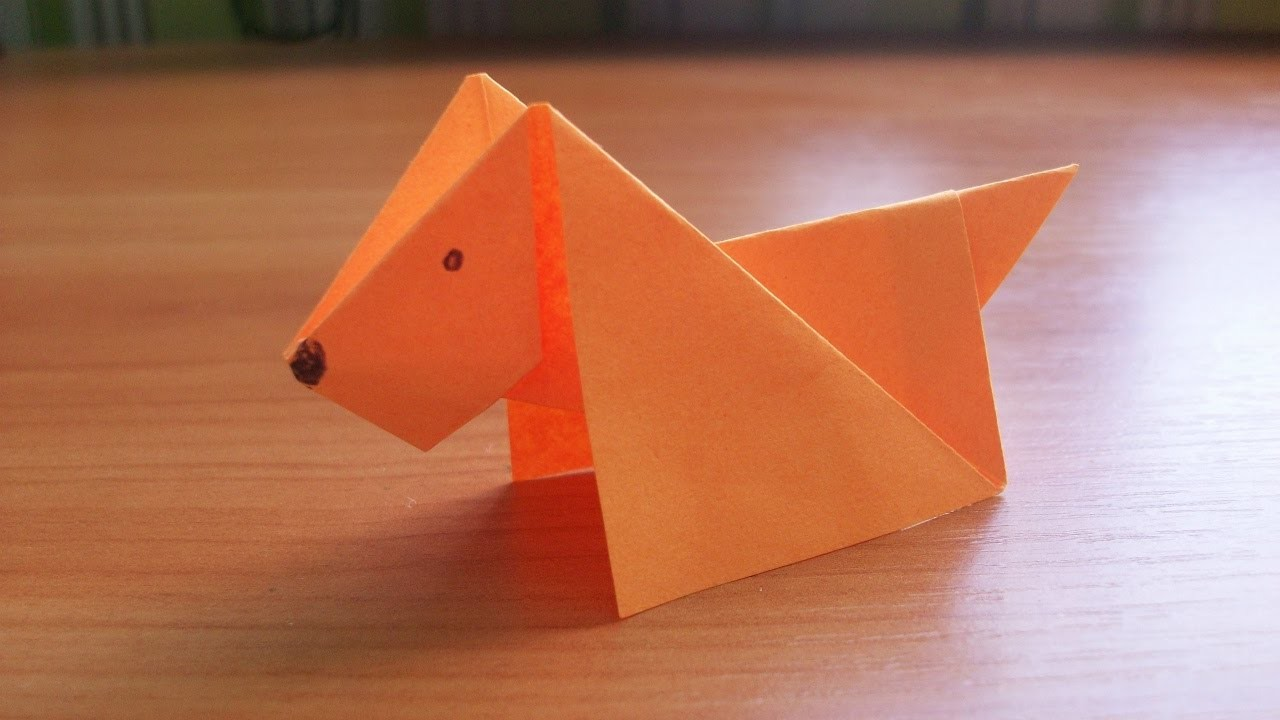 Diy how to make an easy paper dog origami tutorial for for Easy crafts for beginners
