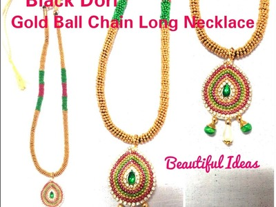 DIY. How to Make Black Dori Gold Ball Chain Necklace at Home. Tutorial