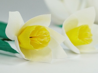 DIY Paper Flowers - White Yellow Crepe Paper Flower Easy Tutorial