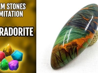 DIY Polymer Clay Realistic Labradorite Gemstone. Gemstone imitation technique. VIDEO Tutorial!