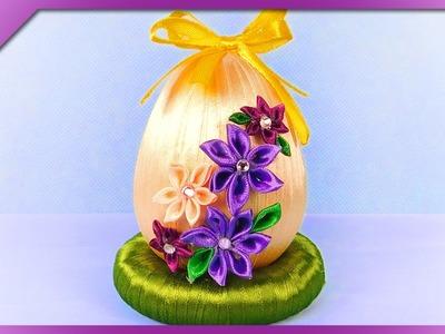 DIY Ribbon Easter egg and mini kanzashi flowers (ENG Subtitles) - Speed up #313