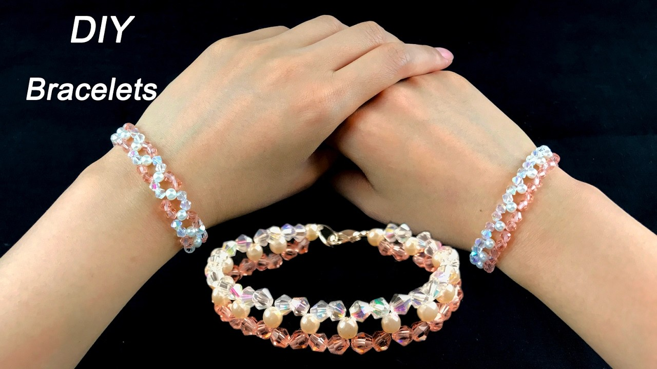 Easy DIY Crystal and Pearls Bracelets. How to Make Beading Bracelets with  Crystal and Pearls