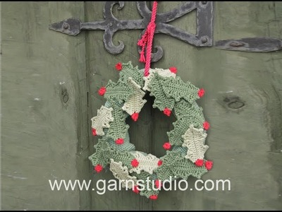 How to crochet a leaf for the holly wreath in DROPS Extra 0-1058