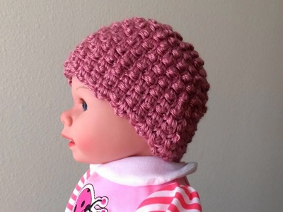 How To Crochet A Raspberry Stitch Baby Hat, Lilu's Handmade Corner Video # 128
