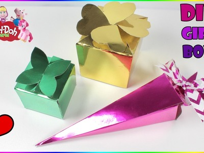 How To Make A Gift Box | DIY Cardboard Boxes | Metallic Paper