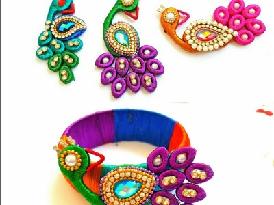 How To Make Silk Thread Peacock  For silk thread bangles\pendants Quilling paper base
