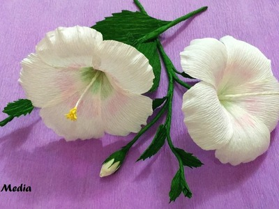 How To Make white Hibiscus Paper Flower origami step by step. DIY crepe paper flower tutorials