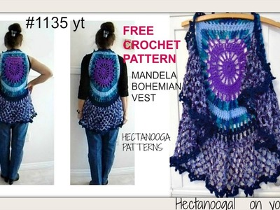MANDALA BOHEMIAN CROCHET VEST sweater, free crochet pattern, adult small (30 to  38 chest) #1135yt