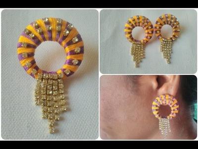 Multi Colour Silk Thread Stones Earrings. DIY. Simple And Easy Earrings Tutorial
